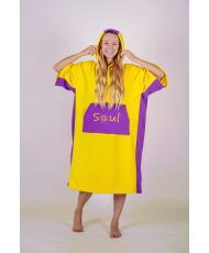 Флисовое пончо SOUL (желтый с фиолетовыми вставками)
