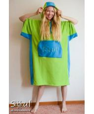 Флисовое пончо SOUL (зеленое с голубыми вставками)