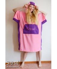 Флисовое пончо SOUL (розовое с фиолетовыми вставками)
