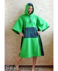 Флисовое пончо SOUL (зеленый с графитовыми вставками)