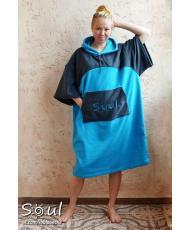 Флисовое пончо SOUL (голубое с графитовыми вставками)