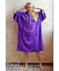 Флисовое пончо SOUL (фиолетовое)