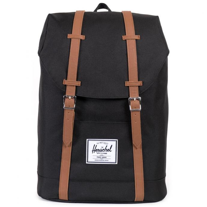 Рюкзак HERSCHEL RETREAT - 56623 Black/Tan Synthetic Leather - Фото 1